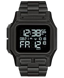Men's Digital Regulus Black Stainless Steel Bracelet Watch 46mm