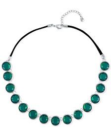 "Silver-Tone Green Stone Collar Necklace, 16"" + 2"" extender"
