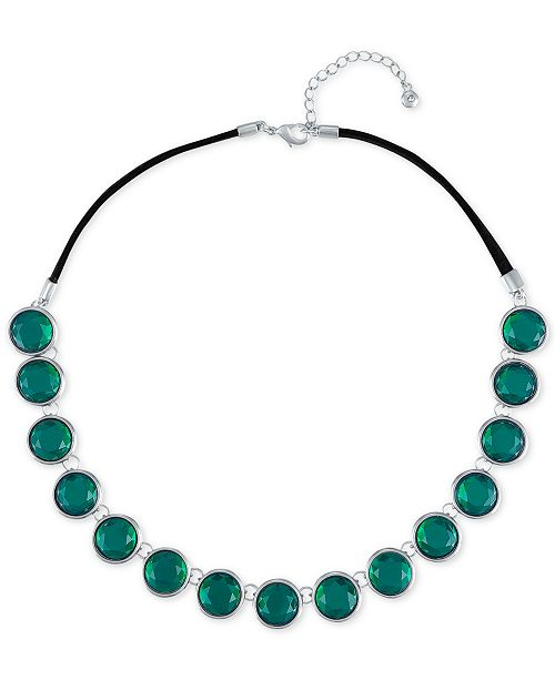 "RACHEL Rachel Roy Silver-Tone Green Stone Collar Necklace, 16"" + 2"" extender"