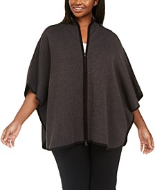 Plus Size Zip-Front Poncho Cardigan