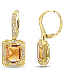 Citrine (6-1/5 ct. t.w.), White Topaz (1/3 ct. t.w) and Diamond (1/10 ct. t.w.) Drop Earrings in 18k Yellow Gold Over Sterling Silver
