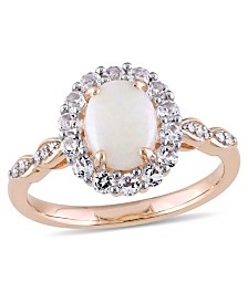 Opal (7/8 ct. t.w.), White Topaz (5/8 ct. t.w.) and Diamond Accent Vintage Halo Ring in 14k Rose Gold