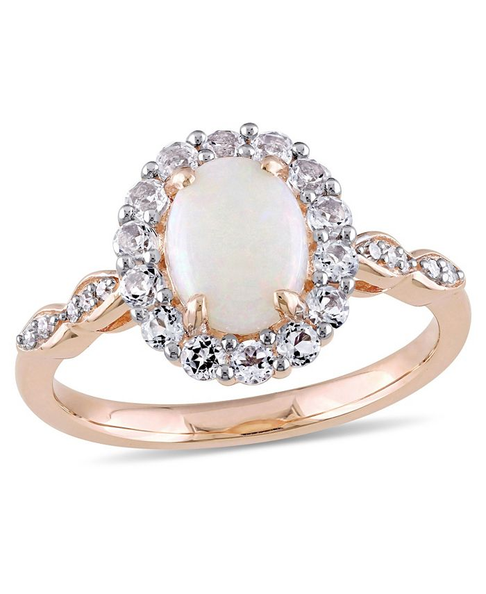 Macy's - Opal (7/8 ct. t.w.), White Topaz (5/8 ct. t.w.) and Diamond Accent Vintage Halo Ring in 14k Rose Gold