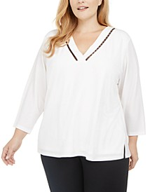 Plus Size Beaded Neckline Top
