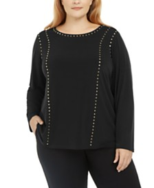 Calvin Klein Plus Size Studded Long-Sleeve Top