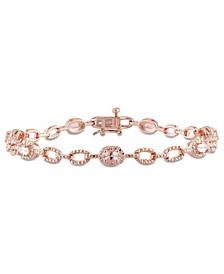 Morganite (1-3/8 ct. t.w.) Station Link Bracelet in 18k Rose Gold Over Silver