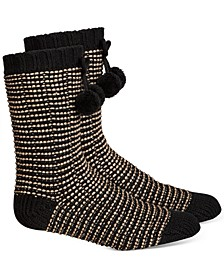Women's Striped Slipper Socks With Faux-Sherpa Lining, Created for Macy's