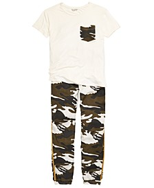 Big Girls Camo-Pocket T-Shirt & Jogger Pants