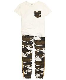 GUESS Big Girls Camo-Pocket T-Shirt & Jogger Pants