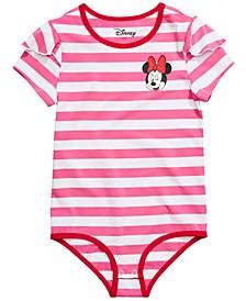 Big Girls Striped Minnie Mouse Bodysuit