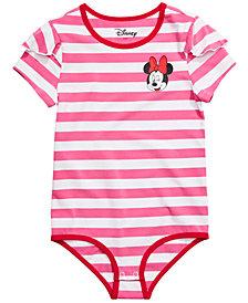 Disney Big Girls Striped Minnie Mouse Bodysuit