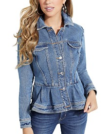 GUESS Cotton Denim Peplum Jacket