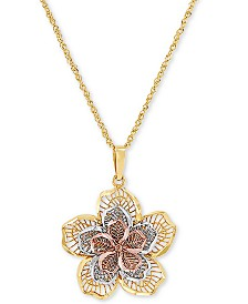 """Tricolor Layered Flower 18"""" Pendant Necklace in 14k Gold, White Gold & Rose Gold"""