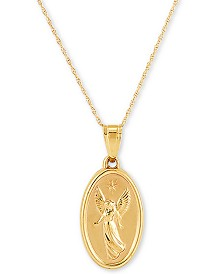 "Guardian Angel Medallion 18"" Pendant Necklace in 14k Gold"