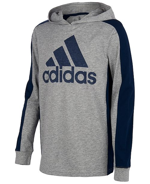 adidas Big Boys Heathered Logo Hoodie T-Shirt