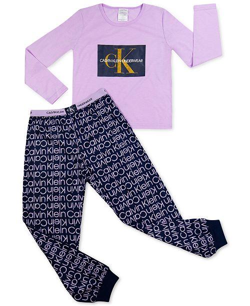 Calvin Klein Big Girls 2-Pc. Brushed Logo Pajamas Set