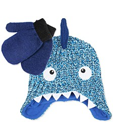 Toddler Boys Knit Shark Hat & Colorblocked Mittens Set