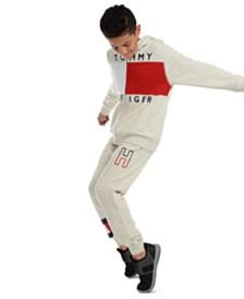 Tommy Hilfiger Big Boys Andrew Colorblocked Fleece Hoodie & Kent Logo Sweatpants