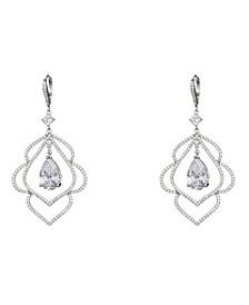 Jewelry Scalloped Cubic Zirconia Leaf Earrings