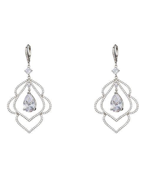 Nina Jewelry Scalloped Cubic Zirconia Leaf Earrings