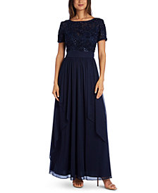 R & M Richards Sequin & Ruffle Gown