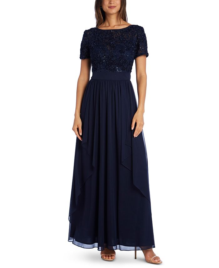 R & M Richards - Sequin & Ruffle Gown