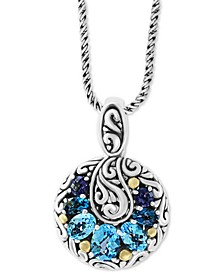 "EFFY® Multi-Gemstone (3-1/2 ct. t.w.) 18"" Pendant Necklace in Sterling Silver & 18k Gold Over Sterling Silver"