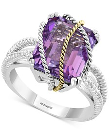 EFFY® Amethyst Statement Ring (5-1/2 ct. t.w.) in Sterling Silver & 18k Gold