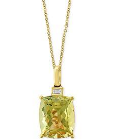 """EFFY® Lemon Quartz (4-5/8 ct. t.w.) & Diamond Accent 18"""" Pendant Necklace in 14k Gold"""