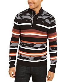 INC Men's Multi-Pattern Quarter-Zip Sweater, Created For Macy's