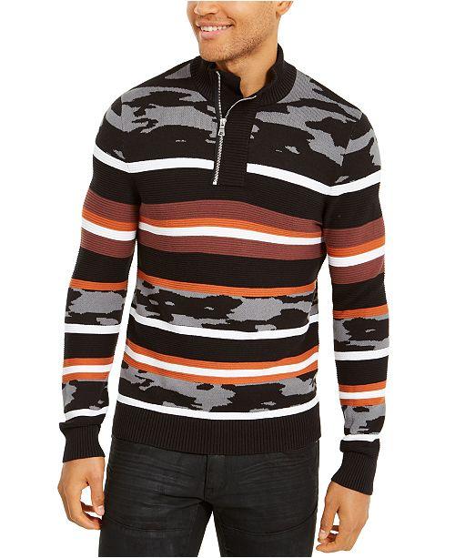 INC International Concepts INC Men's Multi-Pattern Quarter-Zip Sweater, Created For Macy's