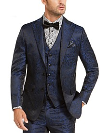 Men's Navy & Black Animal Print Dinner Jacket