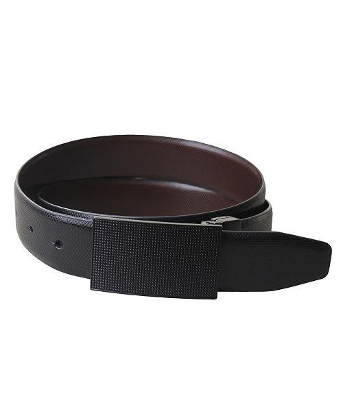 Members Only Split Leather Reversible Plaque Belt