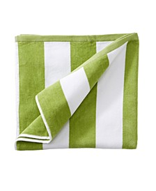 Great Bay Home Plush Cabana Stripe Oversize Velour Beach Towel
