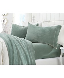 Great Bay Home Extra Soft Cozy Velvet Plush Solid Queen Sheet Set