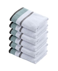 Great Bay Home Luxury Hotel Spa Striped Washcloths Set of 6