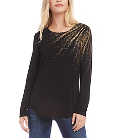 Metallic-Graphic Scoop-Neck Top