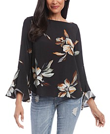 Floral-Print Bell-Sleeve Top