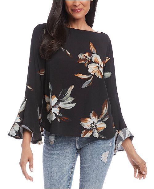 Karen Kane Floral-Print Bell-Sleeve Top
