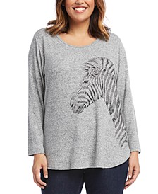 Plus Size Zebra Graphic Sweater