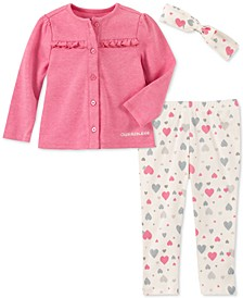 Baby Girls 3-Pc. Headband, Ruffled Cardigan & Heart-Print Leggings Set