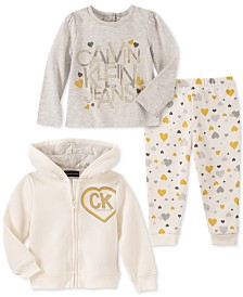 Calvin Klein Baby Girls 3-Pc. Zip-Up Hoodie, Logo T-Shirt & Heart-Print Pants Set