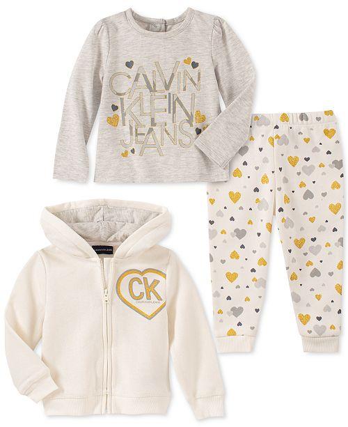 Calvin Klein Baby Girls 3-Pc. Zip-Up Hoodie, Logo T-Shirt & Heart-Print Pants Set