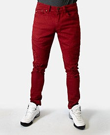 Men's Regular-Fit Stretch Red Destroyed Moto Jeans