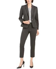 Nine West Single-Button Jacket, Metallic Top, & Pull-On Pants