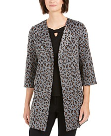 Animal-Print Open-Front Blazer