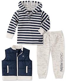 Calvin Klein Baby Boys 3-Pc. Striped Hoodie, Vest & Pants Set