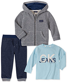 Calvin Klein Baby Boys 3-Pc. Zip-Up Hoodie, T-Shirt & Pants Set
