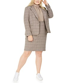 Trendy Plus Size Plaid Jacket, Sleeveless Top, & Pencil Skirt, Created For Macy's
