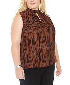 Plus Size Zebra-Print Keyhole Mock-Neck Top, Created For Macy's